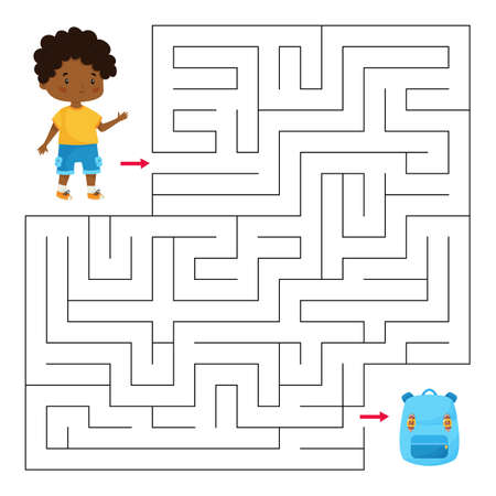 Educational maze game for preschool and school children. Help the boy find right way to his school bag. Cute cartoon vector character. Activity worksheet. Back to school.