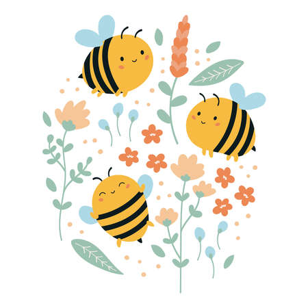 Set of  funny kawaii bees with flowers and leaves. Summer illustration for children. Hand drawn doodle plants. Cartoon character.