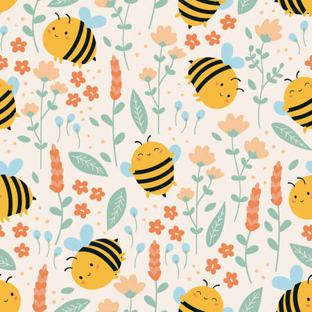 Childish funny bees and summer flowers of seamless pattern. Cute kawaii cartoon bee. Doodle bumblebee, plants and leaves. Ideal for fashion prints. Çizim