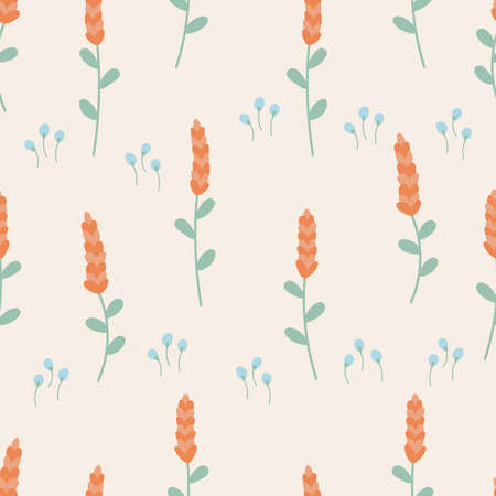 Spring hand drawn floral seamless pattern. Trendy pastel colors. Doodle   flowers. Çizim