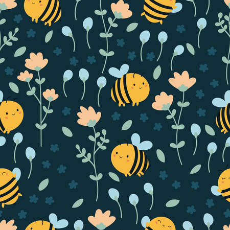 Vector kawaii cartoon bees seamless pattern. Doodle summer flowers. Funny bumble bees on dark green background. Çizim