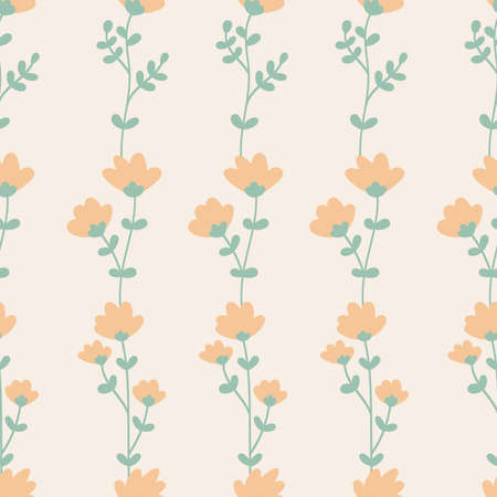 Abstract floral seamless pattern. Pastel color pink spring flowers. Vintage style vector illustration. Çizim