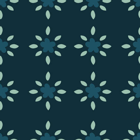 Simple small flowers and leaves seamless pattern on dark green background. Floral vector illustration.