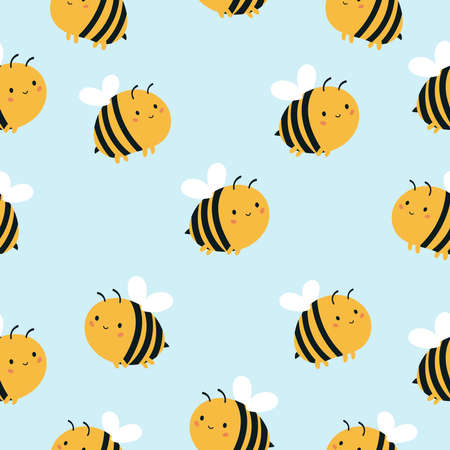 Childish seamless pattern with cute kawaii bees on blue background. Vector cartoon character. Çizim