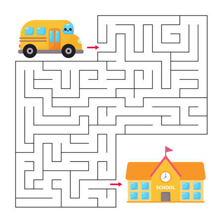 Educational maze game for children. Help the bus find to right way to school. Vector kawaii character. Back to school.