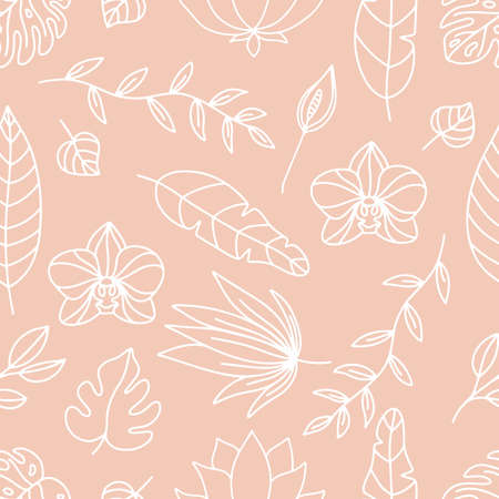 Floral seamless pattern. White outline tropical flowers and leaves on pink background. Vector orchid, monstera leaf, lotus and spathiphyllum.