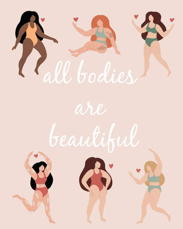 Beauty women set with lettering all bodies are beautiful. Vector trendy illustration. Body positive. Pastel colors. Ideal for posters or greeting cards. Çizim