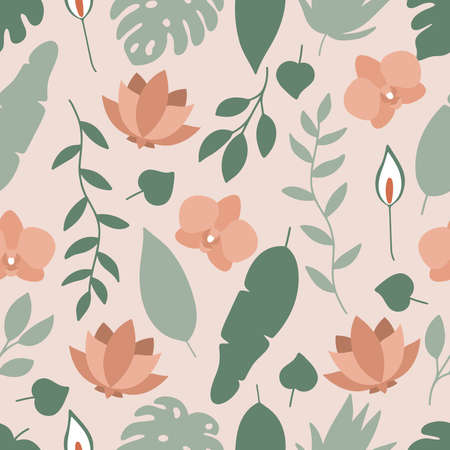 Floral vector seamless pattern with tropical flowers and leaves. Orchid, lotus, spathiphyllum and monstera leaf on pink background.