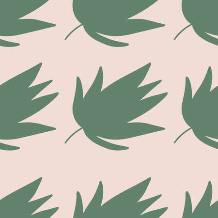 Simple seamless pattern with tropical leaves on pink background. Trendy pastel colors. Vector illustration.
