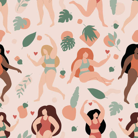 Vector seamless pattern with women and tropical leaves. Abstract geometric shapes. Pastel colors. Women in lingerie or bikini. Trendy flat style illustration.