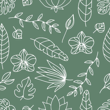 Floral seamless pattern with white outline tropical plants. Hand drawn orchid, lotus, spathiphyllum or peace lily. Monstera leaves on green background.