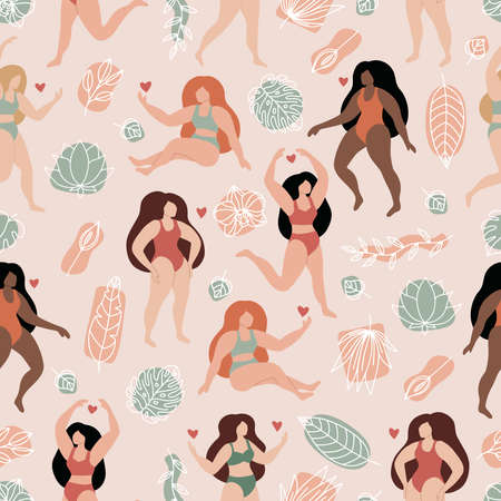 Vector seamless pattern with beautiful women in bikini and swimsuit. Hand drawn outline tropical flowers and leaves. Abstract geometric shapes on pink background.