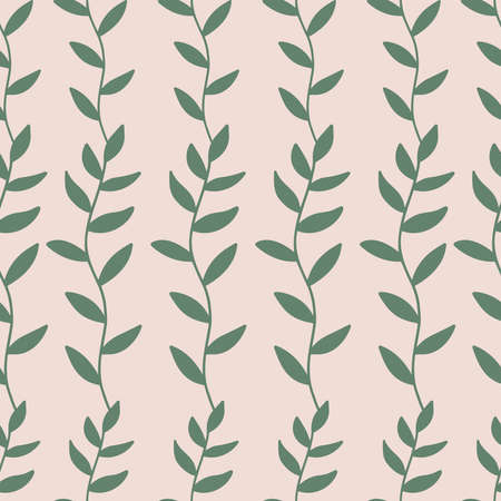 Vector retro seamless pattern with branches and leaves. Vintage hand drawn plants on pink background. Doodle art. Ideas for fabric print, scrapbooking, wedding invitation and greeting card.