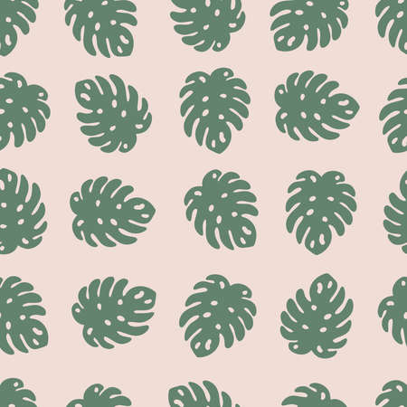 Vector seamless pattern with monstera leaves on pink background. Pastel colors. Perfect for print on fabric, textile, innovations, greeting cards and scrapbooking. Çizim