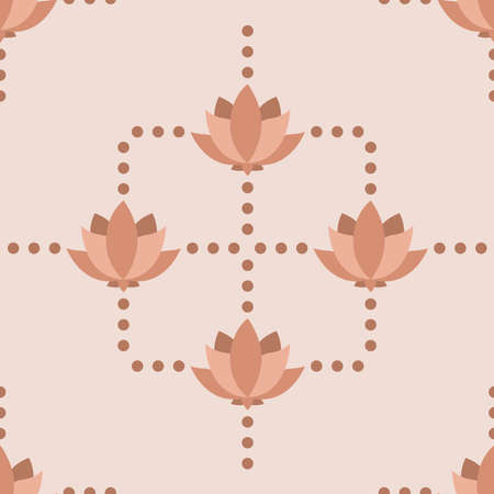 Floral seamless pattern with lotus and dots. Wallpaper for yoga exercises. Vintage flowers vector illustration. Çizim