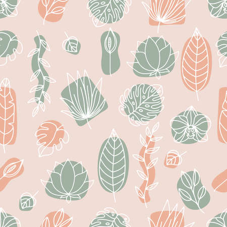 Floral vector seamless pattern. Outline tropical flowers - orchid, lotus and peace lily. Hand drawn monstera, palm tree leaves on pink background. Trendy pastel colors. Çizim