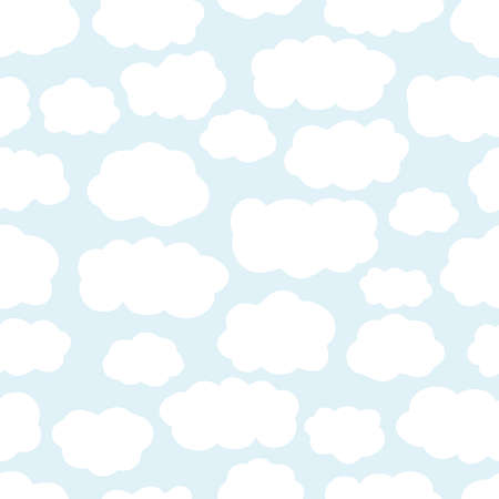 Seamless pattern with hand drawn clouds. Cartoon sky. Çizim