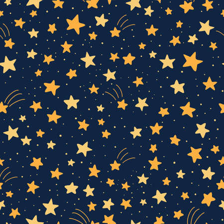 Vector seamless pattern with stars on dark blue background. Doodle illustration.