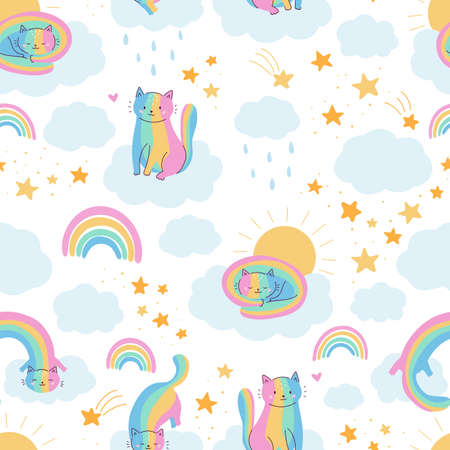 Vector seamless pattern with funny rainbow cats. Cartoon characters. Sky with clouds, rainbow and stars. Perfect for nursery, print on fabrics and scrapbooking.