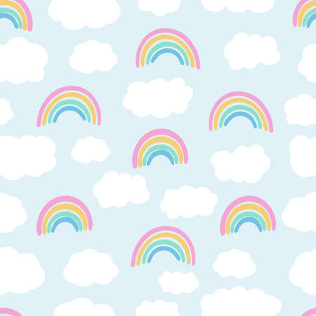 Vector seamless pattern with sky. Hand drawn clouds and rainbows. Perfect for nursery, print on fabrics and scrapbooking. Doodle illustration. Çizim