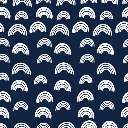 Abstract seamless pattern with white rainbows on dark blue background. Vector illustration.