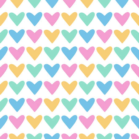 Vector seamless pattern with hearts on white background. Hearts for Valentines Day rainbow colors. Perfect for textile, nursery and scrapbooking.