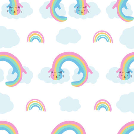 Childish seamless pattern with funny rainbow cats on clouds. Fantasy vector character for children. Hand drawn sky illustration.