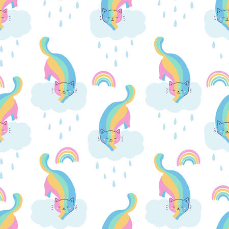 Doodle seamless pattern with cute kawaii rainbow cats. Rainy day. Vector illustration for kids. Ideal for wallpapers, scrapbooking, print on textile.