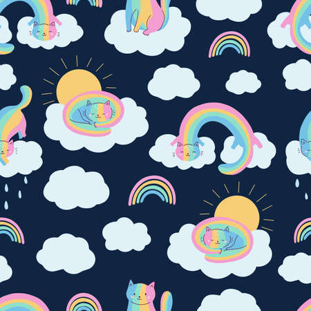 Childish seamless pattern with rainbow cats on dark blue background. Doodle hand drawn animals and clouds. Perfect for print on fabrics, textile, wallpaper for nursery.