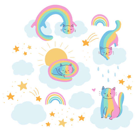 Kawaii rainbow cats on clouds. Fantasy vector illustration for kids. Hand drawn kittens, sky, sun and stars. Doodle animals.