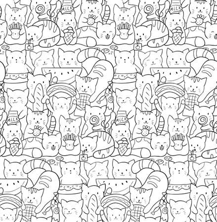 Vector seamless pattern with cute kawaii cats. Kittens with fast food and sweets. Doodle black and white illustration. Perfect for print on fabrics, paper, wallpaper and scrapbooking. Coloring page. Çizim