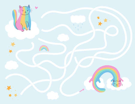 Maze game for preschool kids. Help the rainbow cat find right way to friend. Cute kawaii cartoon characters. Worksheet for girls. Çizim