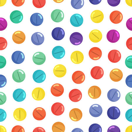 Medical seamless pattern with rainbow colored pills on white background. Flat style cartoon illustration.