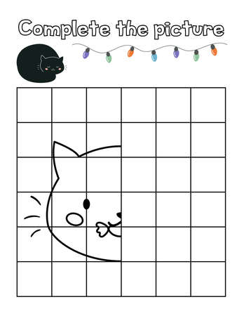 Complete the picture of black cat with candy. Educational game for kids. Halloween theme. Kawaii cartoon character. Copy the picture. Coloring page.