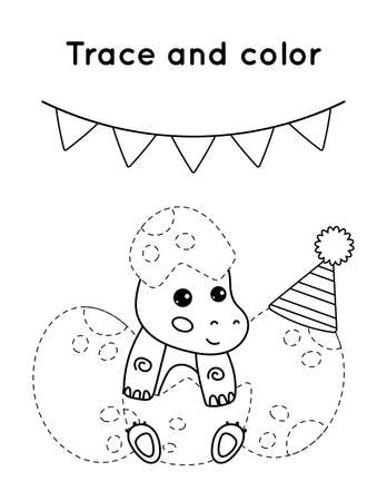 Educational game for children. Trace and color. The little dinosaurs birthday party. Cute cartoon vector characters outline. Ilustración de vector