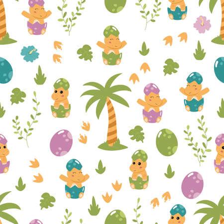 Dinosaur seamless pattern for children. Little Tyrannosaurus baby in the egg. Cute cartoon kawaii characters.