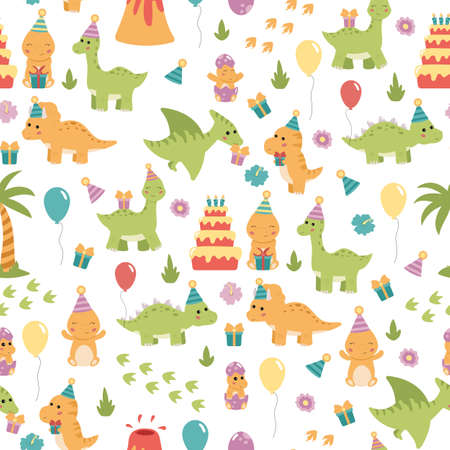 Vector seamless pattern with dinosaurs, birthday cake, presents and balloons. Birthday party for kids.