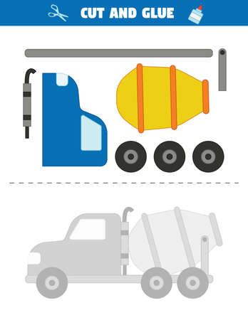 Use scissors to cut parts of the car and glue them into a pattern. Educational printable game for children. Transportation theme. Cement mixer car. Cut and glue task.