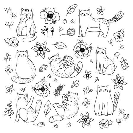 Vector set of doodle cats and flowers. Black and white illustration. Coloring page. Outline funny kittens.