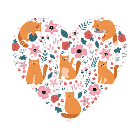 Cartoon funny cats in heart shape. Doodle kittens with flowers. Floral kitty. Ideal for print, sticker or fabric design. Vector illustration.