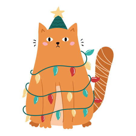 Funny doodle cat with Christmas decoration - garland and tree hat. Holiday vector illustration for postcard. Ilustración de vector