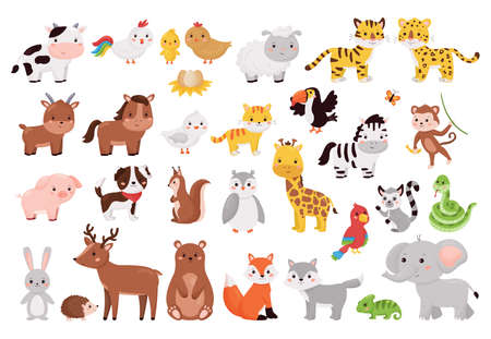 Cartoon animals and birds collection. Cute jungle, forest and farm animals set isolated on white background. Vector illustration for children education.