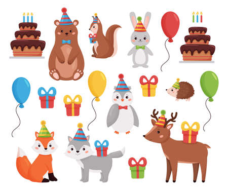 Birthday forest animals collection. Vector illustration for invitations and greeting cards. Cartoon woodland animals with balloons, presents and cake. Party for kids.