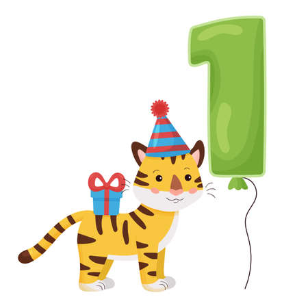 Cute cartoon tiger with number balloon. Vector illustration Happy Birthday. Greeting and invitation card design for one year old children. 일러스트