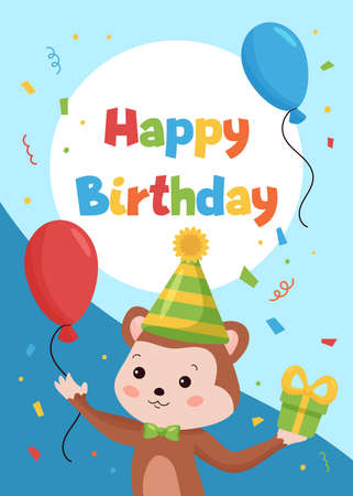 Happy Birthday cards template for postcards and invitations. Jungle animals. Funny cartoon monkey with balloons and gifts. Vector illustration.
