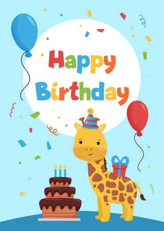 Cards template for birthday party invitations and greeting cards. Cute cartoon giraffe with cake, balloons and gift. African animals. Vector illustration.