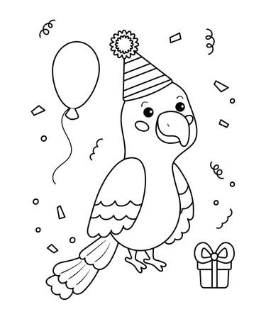 Happy birthday coloring page for children. Cute parrot with gift and balloons. Outline black and white vector illustration. Jungle animals.