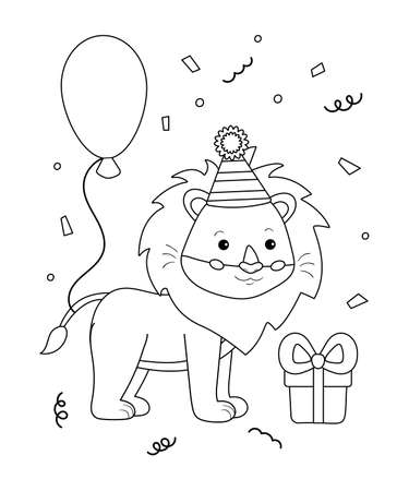 Cute happy birthday coloring page for kids. Funny cartoon lion with balloon and gift. Black and white vector illustration.