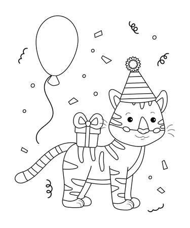 Coloring page for children. Cartoon tiger with gift and balloons. Happy Birthday black and white outline illustration. Jungle animals.