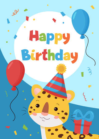 Vector greeting card with cute cartoon leopard. Happy Birthday postcard. Jungle animals. Ideal for printing on cards, invitations, banners, nursery decoration and posters. 일러스트